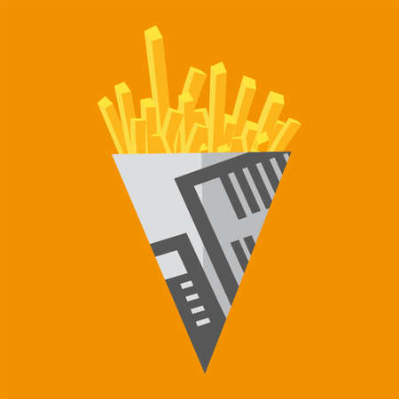 News print chip cone vector illustration on a yellow background