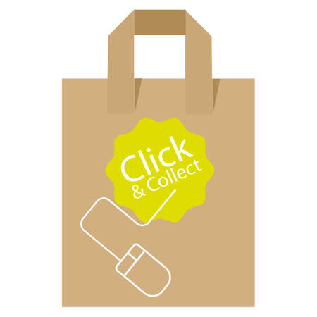 Click and Collect internet and online shopping concept with eco friendly recyclable carrier bag on a white background.