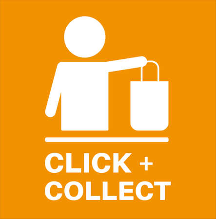 Click and Collect internet and online shopping concept on an orange background. Ilustrace