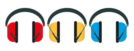 Vector illustration showing a row of ear defenders hung up in a factory with copy space