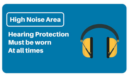 High Noise Area - Hearing Protection must be worn at all times - Vector information sign on a blue background.