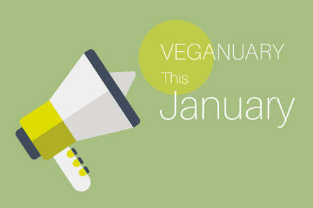 Veganuary This January message on a green background with a megaphone.
