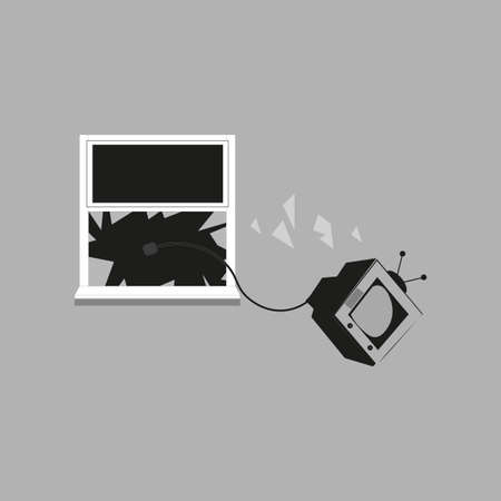 TV set thrown from window vector illustration on a grey background