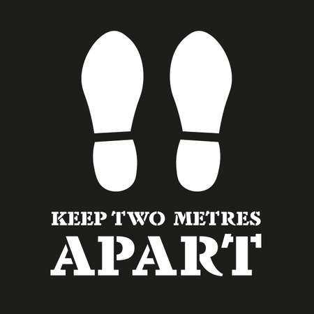 Keep Two Metres Apart with foot print makers - social distancing concept vector illustration