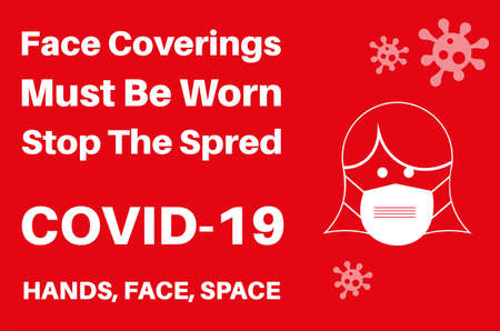 Face Coverings must be worn to stop the spread of Covid-19 information poster vector illustration