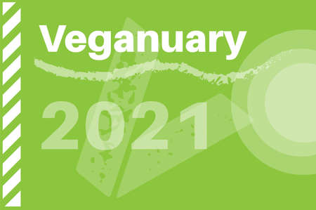 Veganuary 2021 vector illustration an a green background.