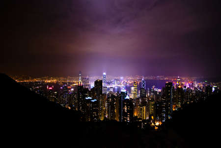 Night view over Hong Kong from Victoria Peak Stock Photo