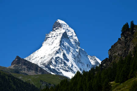 The swiss peak Matterhorn seen from the famous ski resort Zermatt