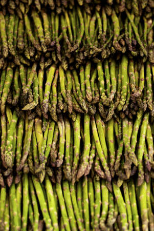 Asparagus lined up for sale on a market
