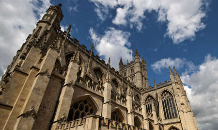 Bath abbey with blue sky and clouds above