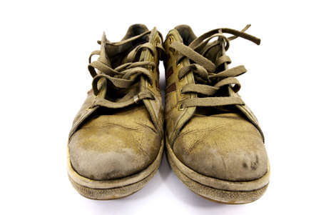 closeup of a pair of worn sneakers Stock Photo