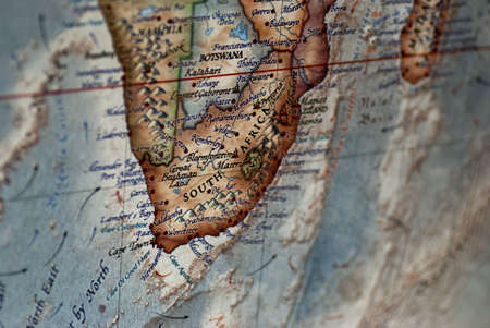 a close up of South Africa on a map
