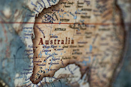 a close up of Australia on a map Stock Photo