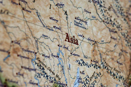a close up of the word Asia on a map
