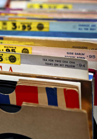 An indexed collection of old vinyl records
