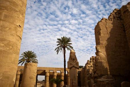 stone statue in the karnak temple in luxor, egypt