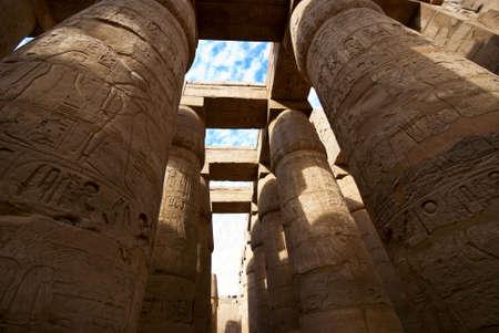stone pilars in the karnak temple in luxor, egypt