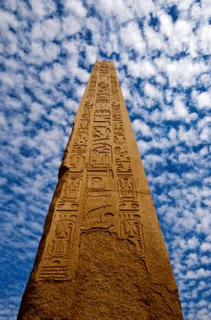 an obelisk in the karnak temple in luxor Stock Photo