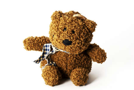 a close up of an old teddy bear Stock Photo