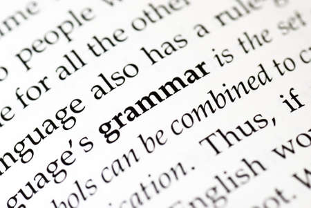 The word grammar in bold in a book Stock Photo