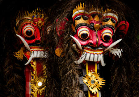 a closeup of colorful traditional balinese masks Stock Photo