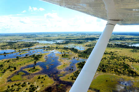 the view from an aircraft flying over the Okavango delta in africa