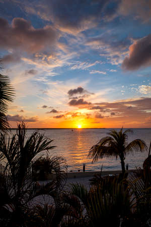 The sun setting on the beautiful island of Bonaire in the Caribbean Stock Photo
