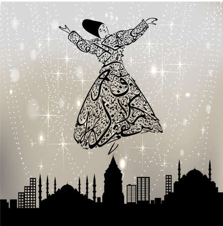 sufism: istanbul skyline and the whirling dervish