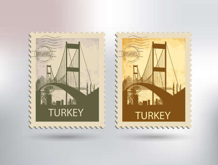 Bosphorus bridge and stamp Vector