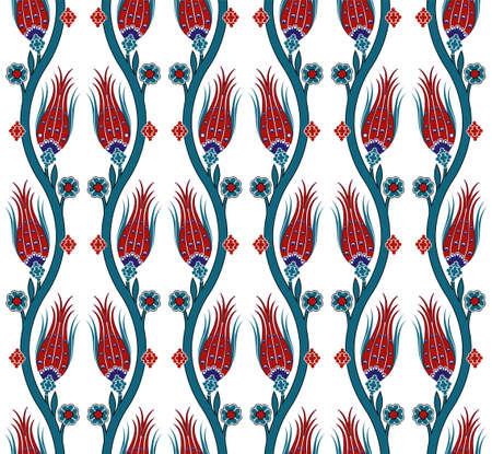 tulipan: Wektor bez szwu dachówka turecki