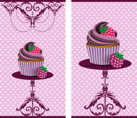 cup cake blackberry Vector
