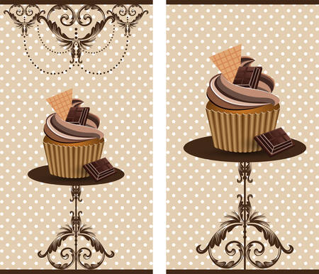dessert stand: cup cake chocolate Illustration