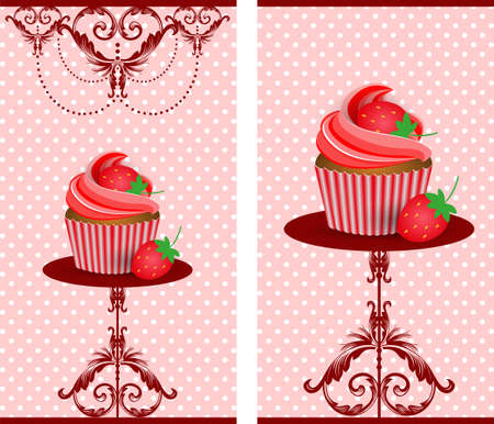 cup cake strawberry Vector
