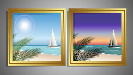beach sunset and in the morning the table Vector