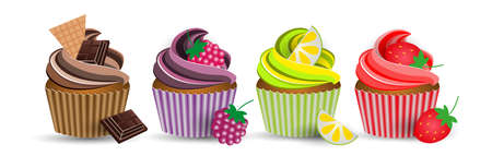 cup cake chocolate, blackberry, lemon, strawberry Vector