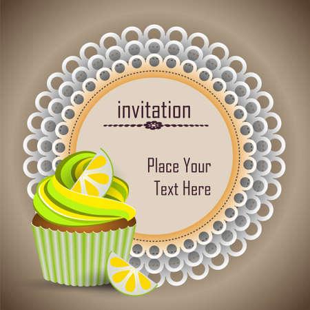cup cake lemon invitation Vector