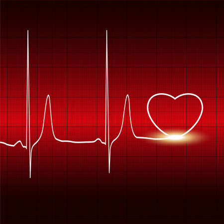 Heart and heartbeat symbol on reflective Vector
