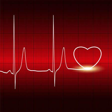 heart monitor: Heart and heartbeat symbol on reflective Illustration