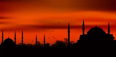 イスタンブールのアヤソフィア、ブルーモスク シルエット