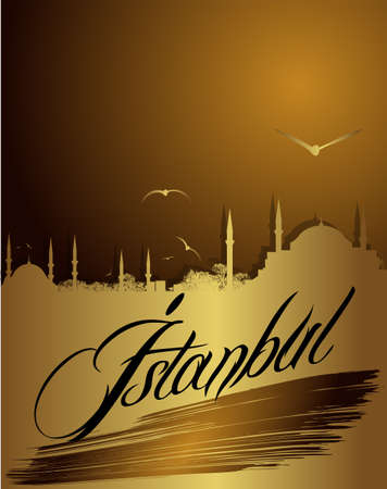 hagia sophia: silhouette of Istanbul in golden color Illustration