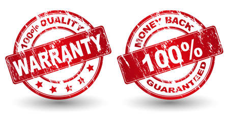 refunds: Vector money back guarantee and Warranty sign, label Illustration