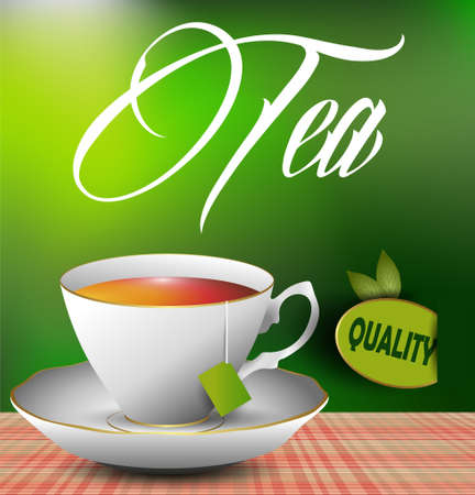 An example of a cup of tea on the table  eps 10 vector