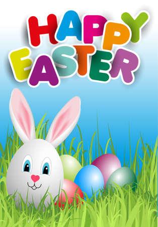 cute rabbit: Happy Easter Illustration