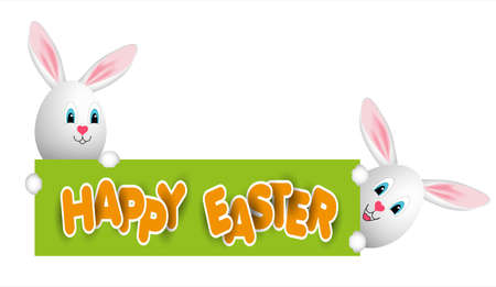 Happy easter eggs and cute rabbit-eared message Vector