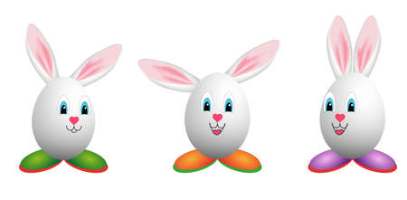 happy easter egg mascots Vector