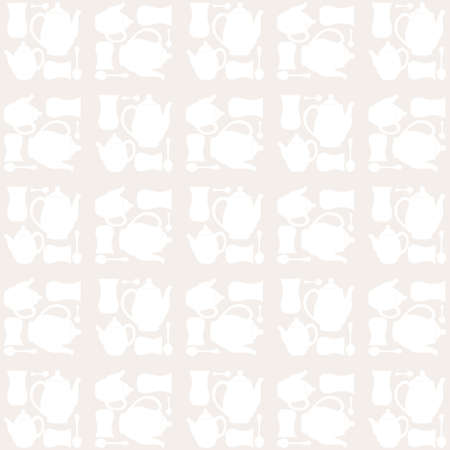 Teapot, tea cup and tea spoon seamless pattern Vector