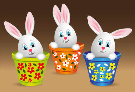for happy easter, rabbit-eared eggs in pot Vector