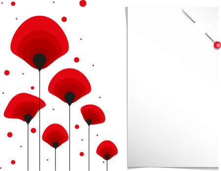 abstract red poppy flower and note paper Vector