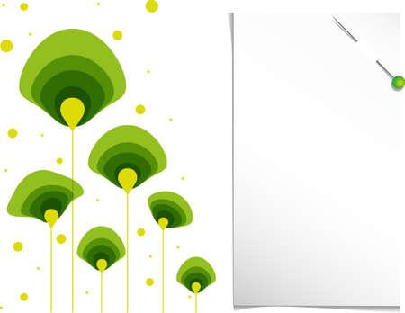 groen behang: abstracte groene achtergrond voorjaar bloemen en notities