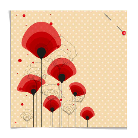 Example of ground poppy flower with polka dots